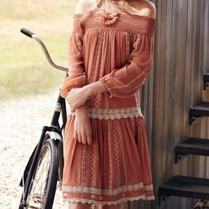 Anthropologie orchard lace boho peasant dress